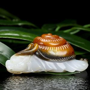 糖白玉吊坠天然和田玉玉坠玉石挂件蜗牛 扭转乾坤