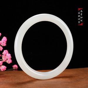和田玉手镯天然白玉镯子女款苏工玉石圆镯内径60.5mm