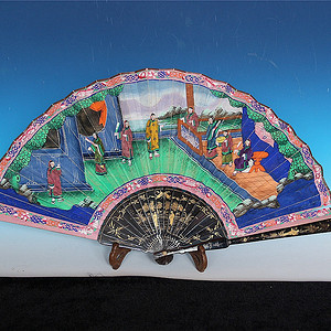 收藏级 清代人物亭台楼阁绘画漆器扇