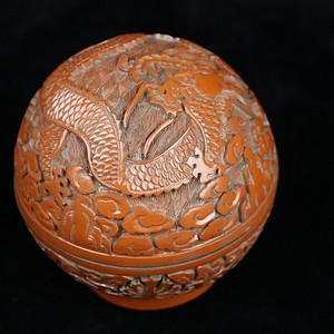 旧藏回流精品漆雕圆首饰盒