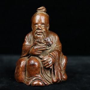 旧藏竹根雕人物摆件