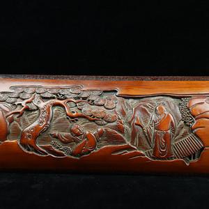 旧藏竹雕襄红木边臂阁摆件