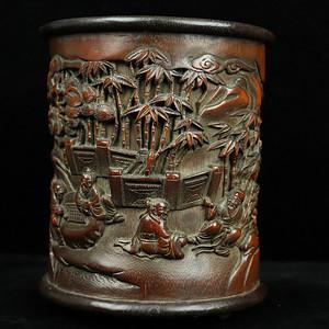 旧藏竹子襄红木底口笔筒摆件