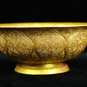 旧藏大唐贞观年制铜胎镀银贴金碗摆件