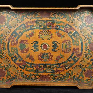 旧藏雕填漆器茶盘摆件