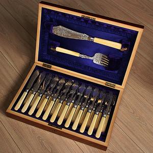 特殊材质 一套26件带原装盒回流刀叉餐具