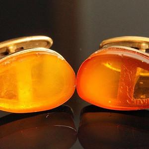 金牌 欧洲男士老首饰 俄罗斯琥珀袖扣875银制9.8g 韵味气派配饰