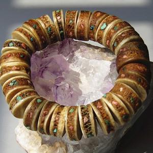 藏传 嘎巴拉 镶宝 手串 包浆醇厚 游牧贵族圣物