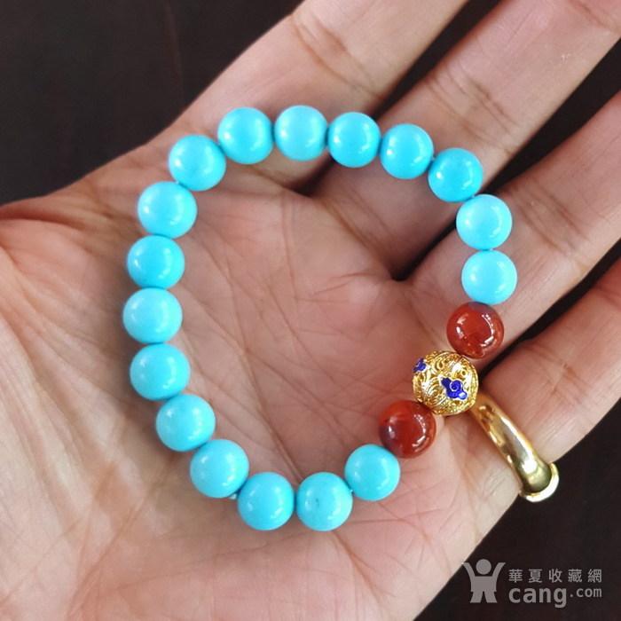 绿松石拍卖-精品 17.8克睡美人松石8mm圆珠手链