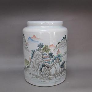 清晚期浅绛山水人物纹大茶叶罐