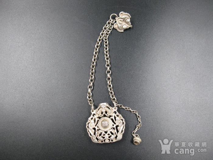 精品 清代老银福祷纹香曩挂饰图5