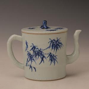 欧洲回流青花竹节茶壶