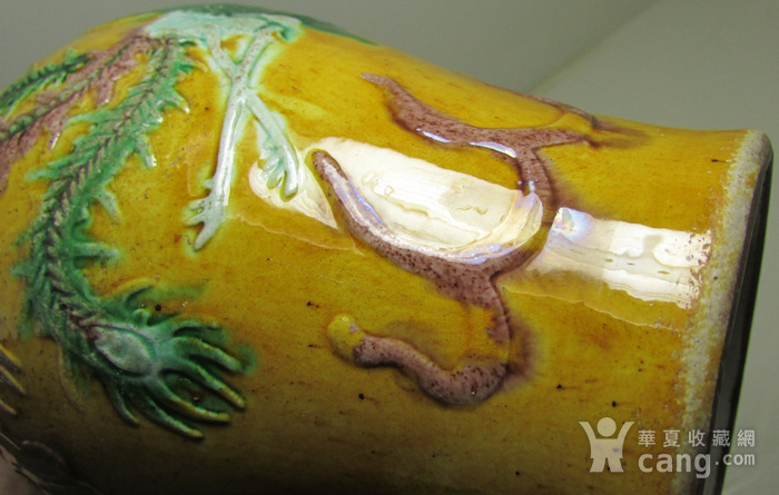清中晚期浮雕龙凤纹黄地素三彩橄榄瓶图9
