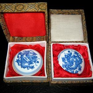 联盟 五十年代手绘青花龙纹印泥盒一对