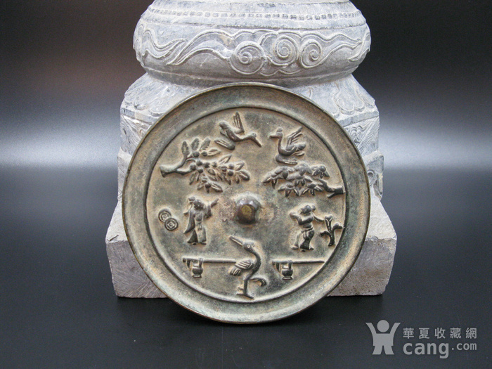 宋代花鸟人物纹铜镜图4