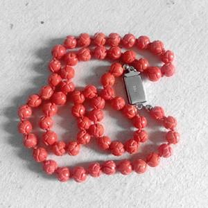 欧洲回流14.05克雕刻珊瑚圆珠项链
