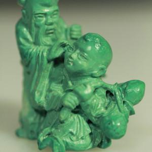 精品回流天然松石寿星童子雕刻摆件