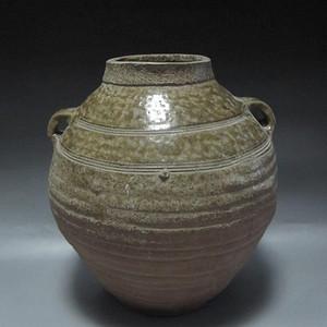 汉代青釉玄纹双系罐
