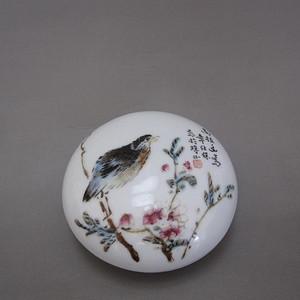 陶瓷美术大师 章仕保花鸟纹印泥盒