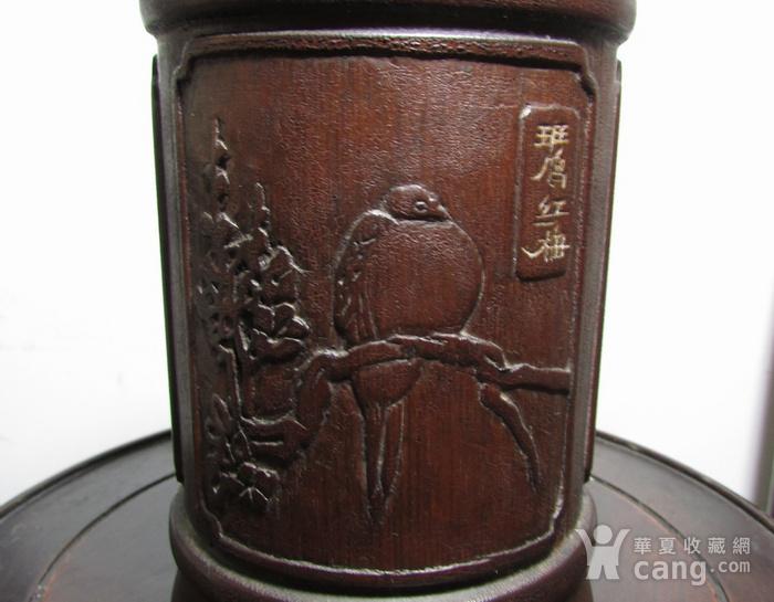 文革竹雕斑鸠红梅髹漆笔筒图2