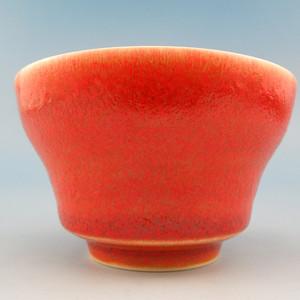 80.清代 朱砂红釉折沿杯 1