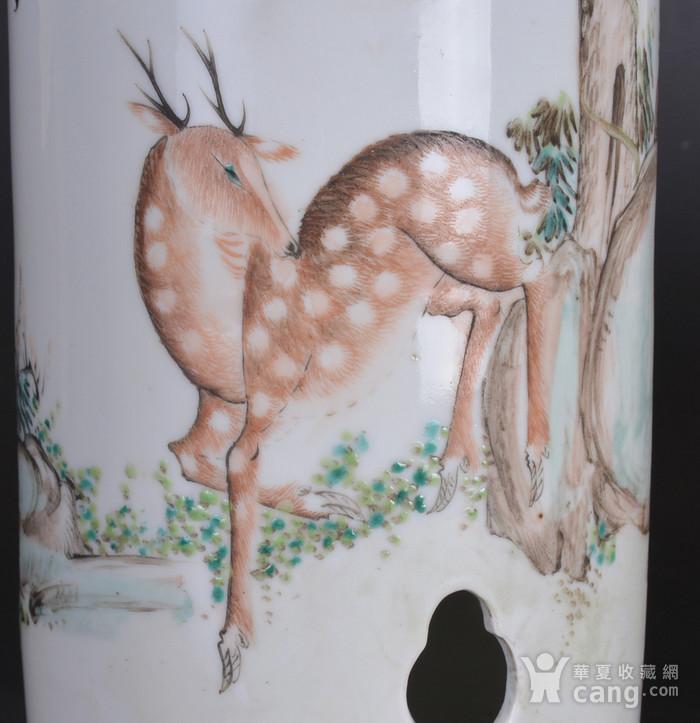 晚清 鹿鹤同春 浅降彩帽筒图4