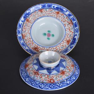 晚清民国 玲珑碗盖和茶托