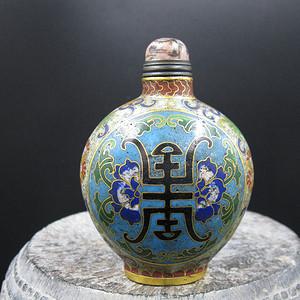 收藏级 景泰蓝长寿纹饰鼻烟壶