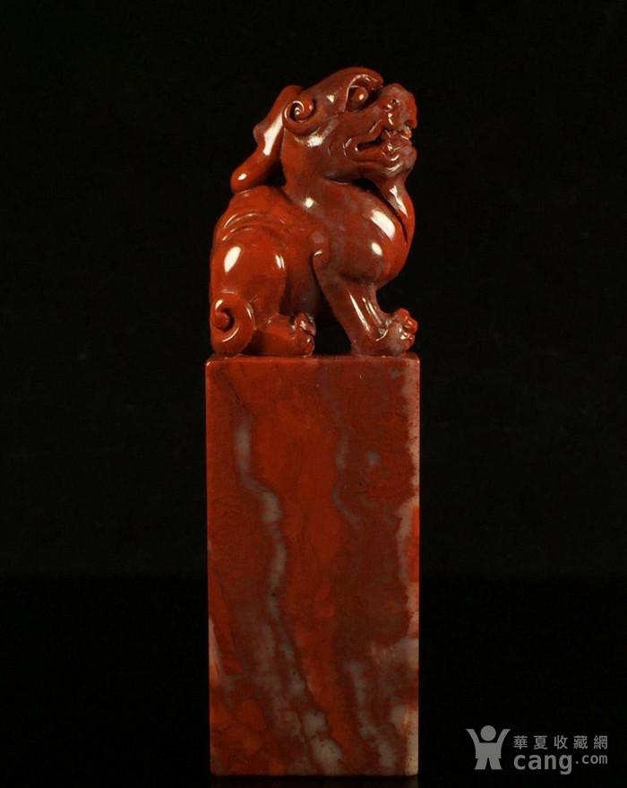 竞猜:精品寿山石老矿高山朱砂古兽印章,91年刘师傅的作品图1-在线竞猜-图片|图库|价格