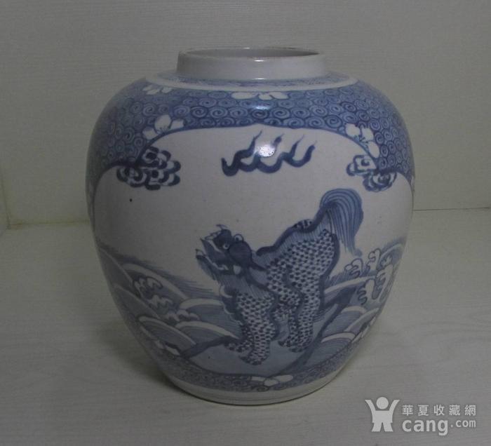 康熙青花开光绘海水云纹麒麟纹大罐图1