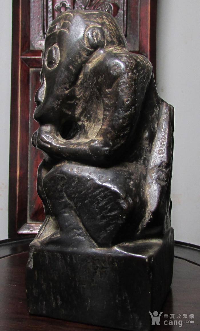 青石雕猕猴献寿文房摆件图4