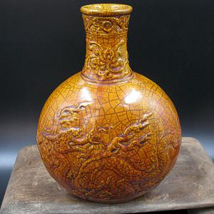 欧洲回流 黄釉龙纹扁瓶