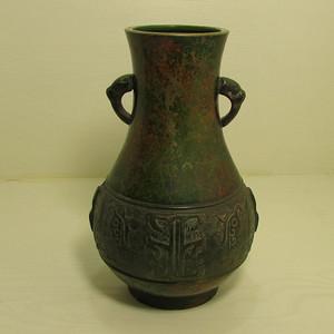 清晚期民国饕餮纹出戟双耳铜瓶
