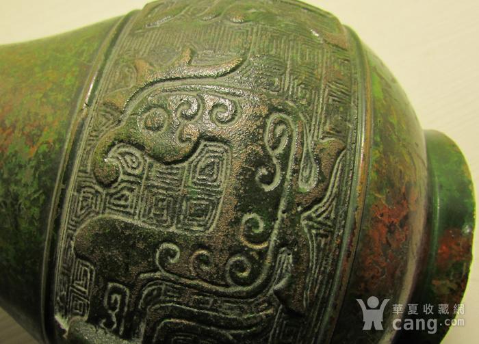 清晚期民国饕餮纹出戟双耳铜瓶图6