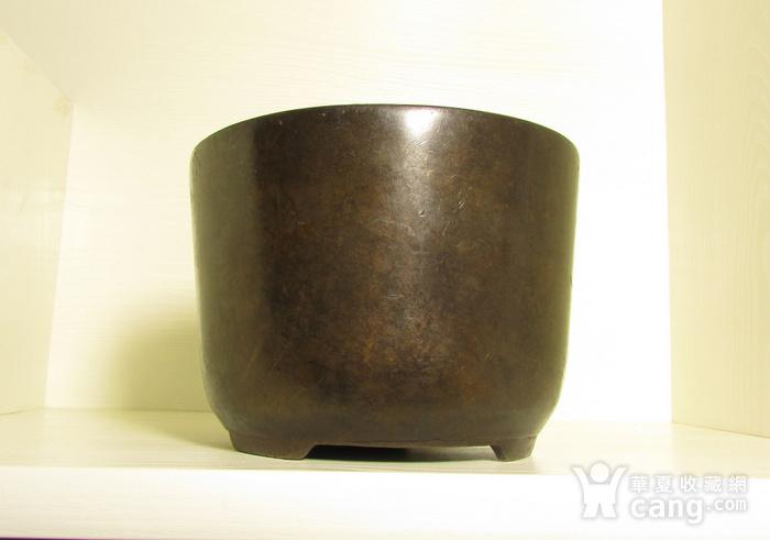 清早期枣皮红铜圆斗型三足香炉图3