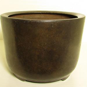 清早期枣皮红铜圆斗型三足香炉
