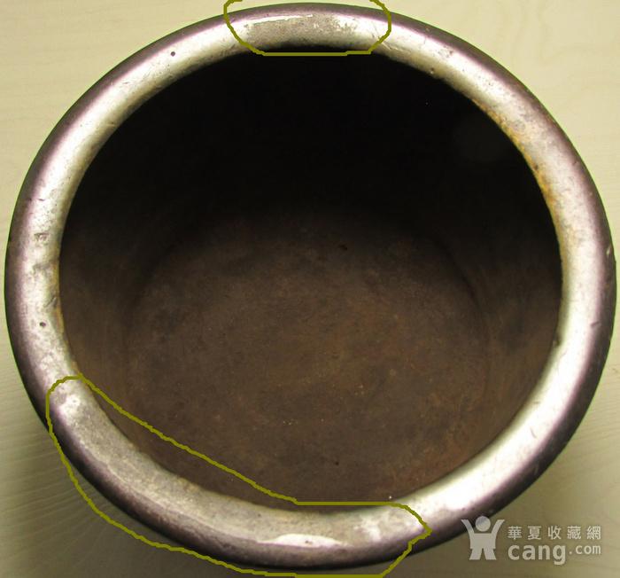 清早期枣皮红铜圆斗型三足香炉图5