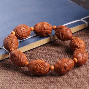 小雨老师作品 精品天然橄榄核雕八大财神手串