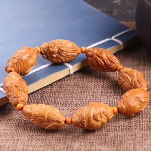 旭园老师作品 精品天然橄榄核雕八方来财手串