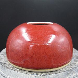 文房瓷 红釉水盂