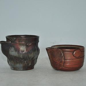 日本僃前烧敞口小茶壶两个