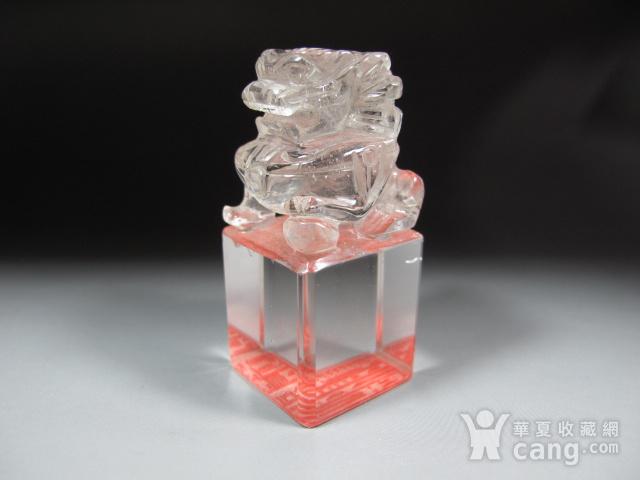 明代白水晶狮钮护封印 图3