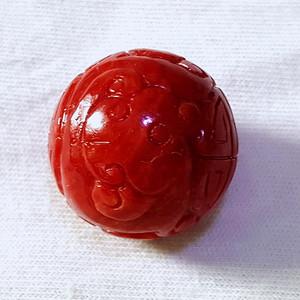 精品 7.35克20mm阿卡珊瑚雕花圆珠