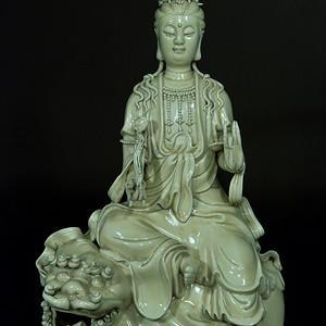欧美回流 创汇时期时期文珠菩萨骑狮佛像