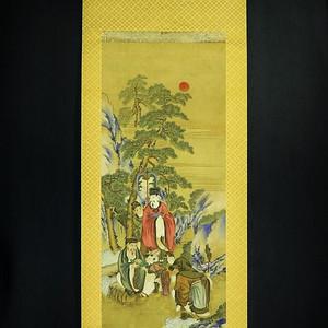欧美回流 手绘设色绢本人物老画轴
