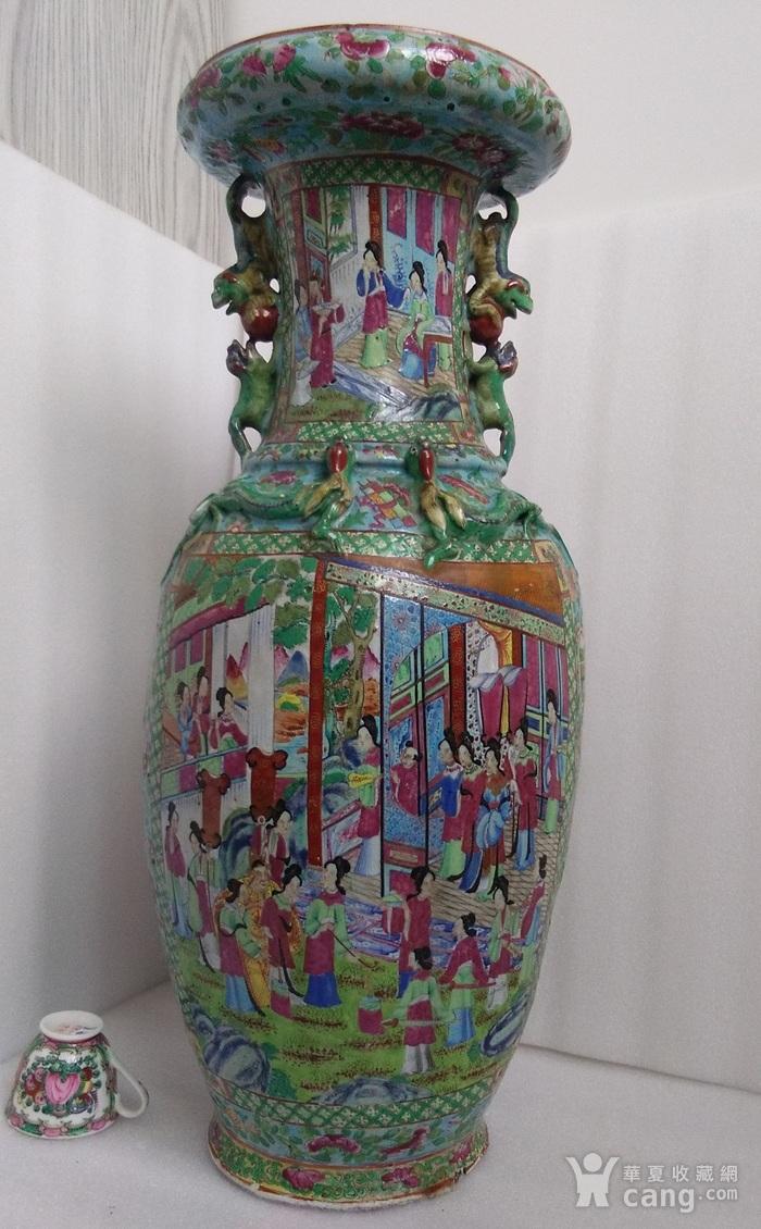 嘉道广彩开光人物盘口大瓶高58公分包真包老