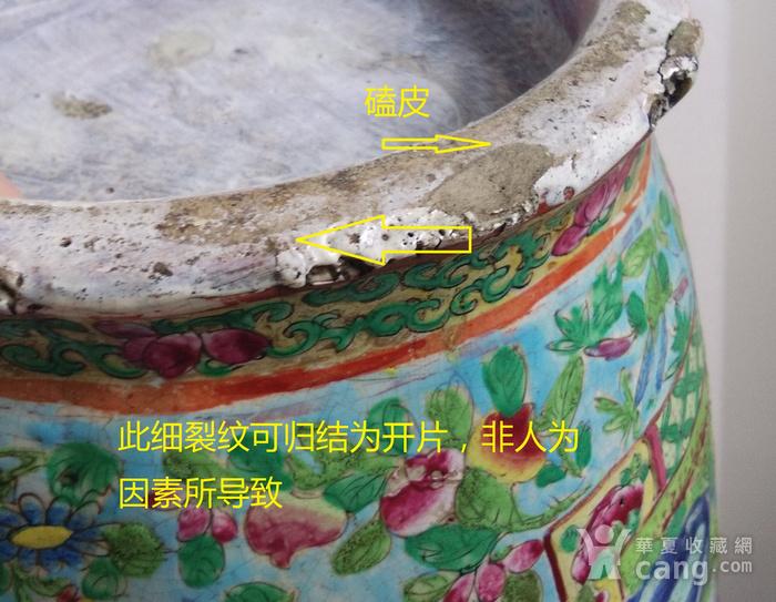 嘉道广彩开光人物盘口大瓶高58公分包真包老图12