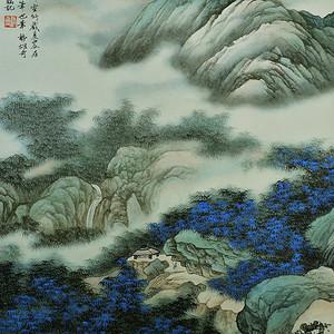 欧美回流 吴湖帆极美手绘设色纸本山水画大立轴