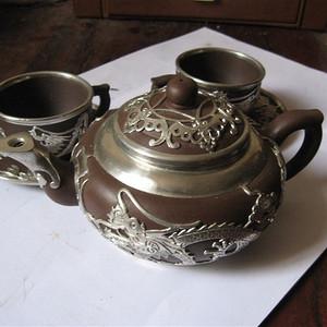 明清瓷杂0元拍出口创汇期宜兴锡包紫砂器茶具一套