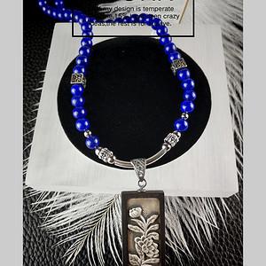 金牌 天然青金石两用手环项链实银吊坠